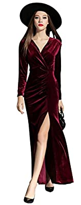 Ababalaya Women's 90s Retro Velvet Long Bodycon Side Slit Formal Evening Gown