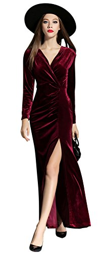 Ababalaya Women's 90s Retro Velvet Long Bodycon Side Slit Formal Evening Gown,Burgundy,L