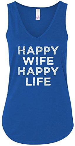 Ladies Happy Wife Flowy Tank Top, 2XL Royal