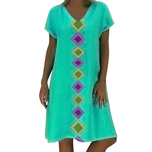 (Women Party Dresses Sexy,Women Summer Short Sleeve V-Neck Geometric Print Cotton Shift Casual Dress, Sky Blue)