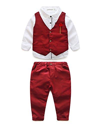 Baby Boys Gentleman Coat + Shirt +Denim Trousers Set Kids Clothes - 6