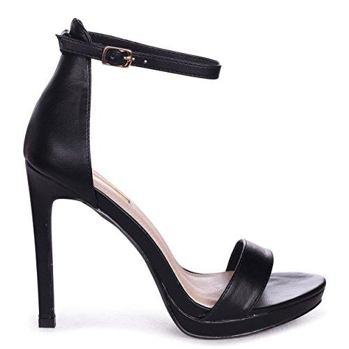 Gabriella - Black Nappa Barely There Stiletto Heel with Slight Platform Black 9kU8S
