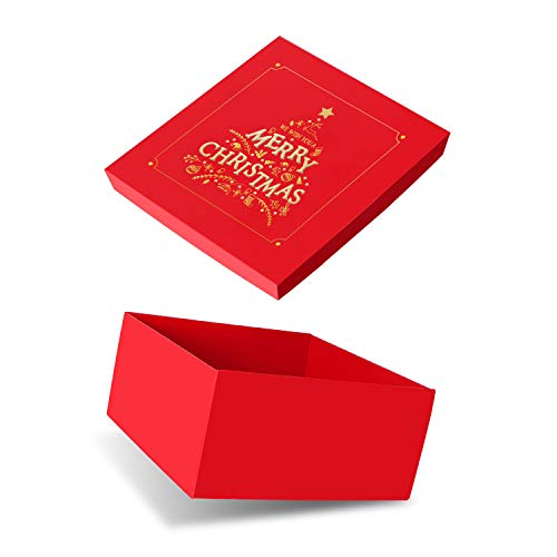 Christmas red Gift Box JIAWEI – 11x11x5.4inchs Decorative Christmas Gift Box with lids for Wrapping Gifts Presents and FSA Gift Box Include a Greeting Card and Tissue Paper