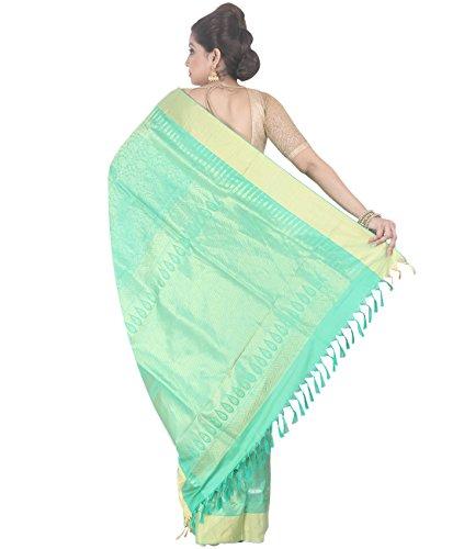 Indian Ethnic Upadda Silk Light Green Uppada Saree by Simaaya Fashions Pvt Ltd (Image #4)