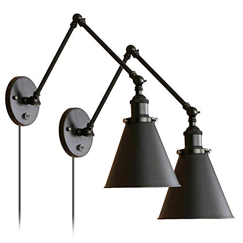 Industrial Black Wall Lights Adjustable Arm with Switch for Bedroom Sconce Fixture Metal Plug-In Wall Lamp Set of 2