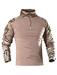 AKARMY Men's Tactical Military Combat Slim Fit Camo Shirt with Zipper