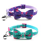 azuza Cat Collar with Bell - Adjustable Cat Collar with Bowtie - Safety Breakaway Cat Collars - 2 Pack