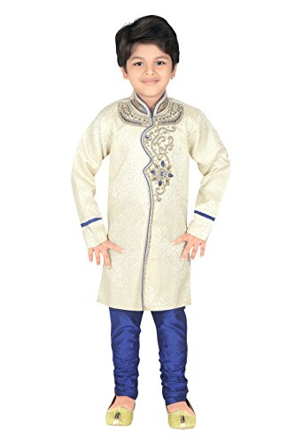 Work Kurta - Ahhaaaa Kid's Ethnic Indian, Hand Work Embroidery Sherwani and Breeches Set(2) Blue