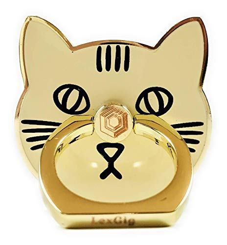 Cell Phone Ring/Grip/Holder/Metal/360 Degree Rotary/Cute Cat Shape/Smart Phone Holder/Perfect Stocking Stuffer/Gift/Grip (Beige/Gold/Yellow/Cream)