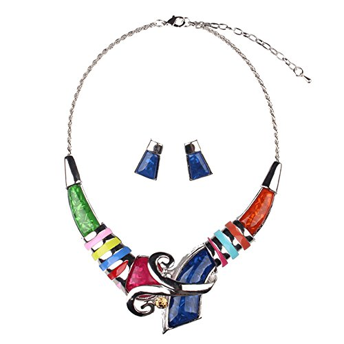 Girl Era Unique Colorful Resin Necklace Bib Statement Necklaces & Earring Set(red) price tips cheap