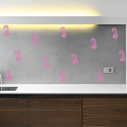 Candy Cane & Bow Holiday Season Vinyl Wall Decal Sticker (Bubble Gum, 19 X 49 in) ()