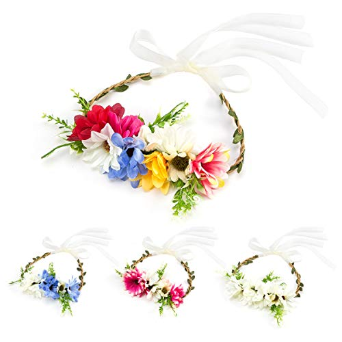 4 Set Baby Girls Flower Wreath Headband Crown with Ribbon, Toddlers Boho Garland Halo Floral Headpiece
