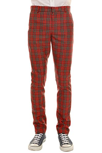 Run & Fly Mens 60s Vintage Retro Mod Ska Red Royal Stewart Tartan Trousers for $<!--$39.95-->