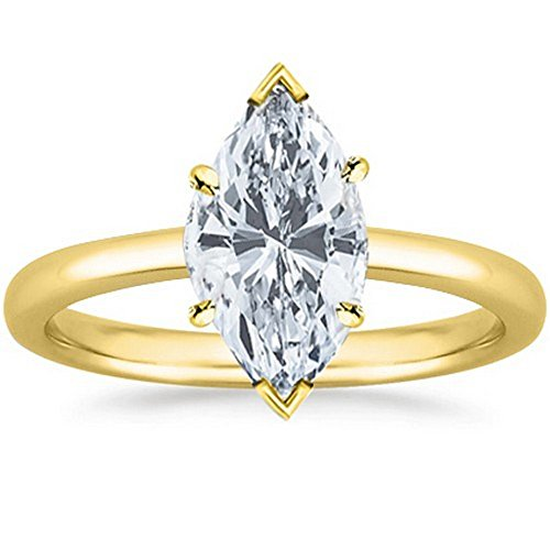 14K Yellow Gold Marquise Cut Solitaire Diamond Engagement Ring (1 Carat G-H Color VS2 Clarity) by Diamond Manufacturers USA