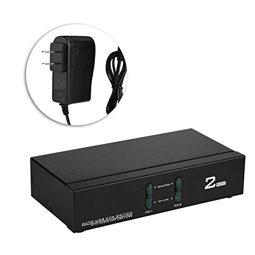 Walfront 2 Port USB VGA KVM Switch Box VGA Video Sharing Adapter 2 In 1 Out Switcher with USB Cables Supports up to 1920 x 1440 Resolution for Computer, PC, Laptop (US Plug) by Walfront