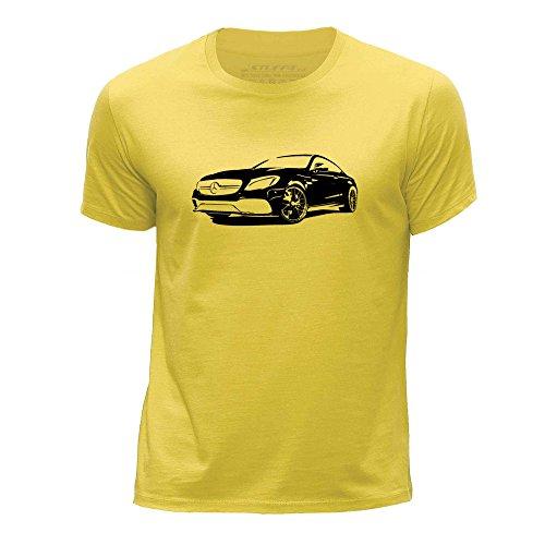 STUFF4 Boy's Age 12-14 (152-164cm) Yellow Round Neck T-Shirt/Stencil Car Art / C 63 S - C 13 Yellow Round