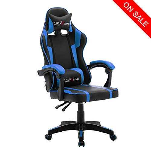 MIRacing Gaming Chair Reclining Memory Foam Racing Computer Chair Ergonomic High-Back Desk Office Chair with Headrest and Lumbar Support, Blue Uncategorized