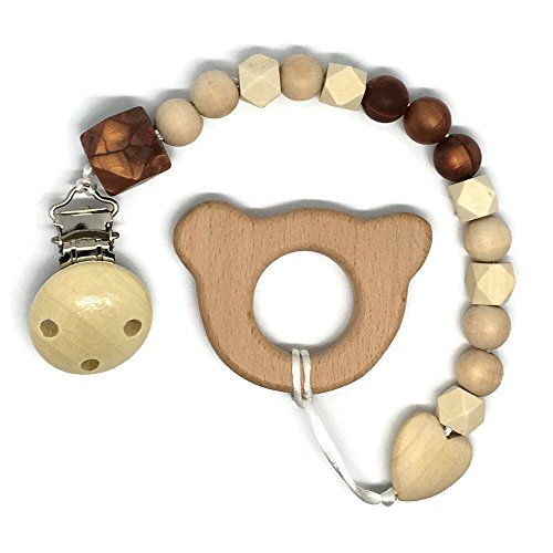 Wooden Teething Toy and Pacifier Clips (Teddy Bear Ears)