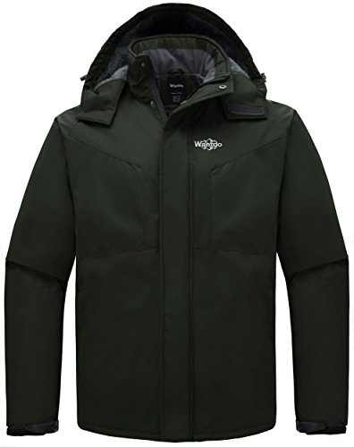 Fleece Winter Parka - Wantdo Men's Detachable Hood Waterproof Fleece Winter Parka Windproof Ski Jacket Army Green US Medium