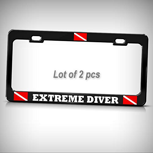 Set of 2 Pcs - Extreme Dive Tag Holder License Plate Frame Decorative Border Heavy Metal Love Scuba Diving Black Tag by Man Cave Decorative Signs