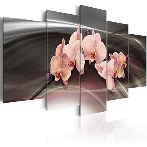 """Flower Canvas Wall Art Pink Orchid on Dark Background HD Print Painting Floral Picture Modern Artwork Decor Framed 5 pcs Ready to Hang (FD01, Small W40"""" x H20"""")"""