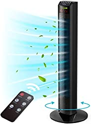 Tower Fan, Homech Whole Room Wind Curve Auto Oscillating Tower Fan with Remote, Quiet Cooling, 3 Modes, 3 Spee