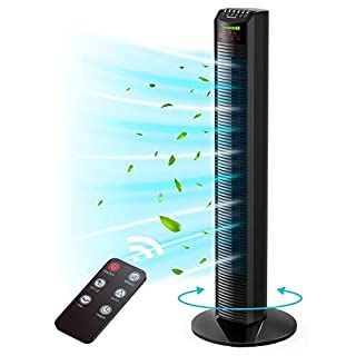 Tower Fan, Homech Whole Room Wind Curve Auto Oscillating Tower Fan with Remote, Quiet Cooling, 3 Modes, 3 Speeds, up to 12H Timer, LED Display with Auto Screen Off, Floor Bladeless Fan