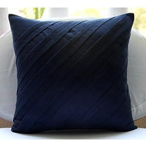 designer navy blue euro pillow shams 26 x26 euro pillow covers textured pintucks. Black Bedroom Furniture Sets. Home Design Ideas