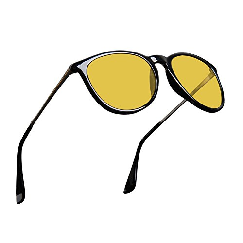 Mens Womens Classic Retro Polarized Night Vision Yellow Driving Glasses Anti-glare Rain Day Sun - Women Glasses Retro