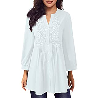 Women Long Sleeve Notch Neck Pleated Loose Blouse Tunic Top(White,XL)