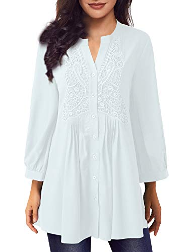 Jevole Women Long Sleeve Notch Neck Pleated Loose Blouse Tunic Top(White,L) ()