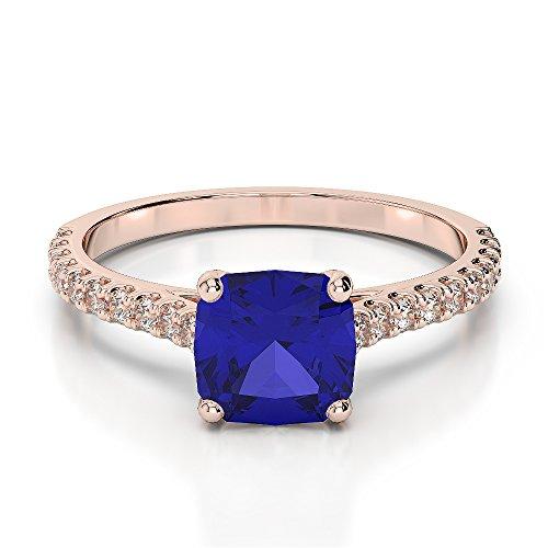 Or Rose 18carats 1CT G-H/VS sertie de diamants taille Coussin et saphir Bague de fiançailles Agdr-1216