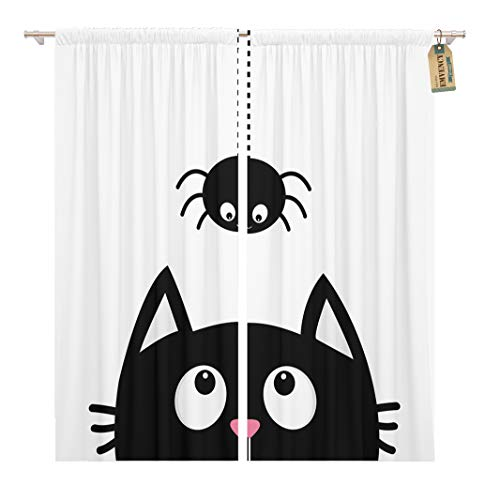 Golee Window Curtain Black Cat Face Head Silhouette Looking Up to Hanging Home Decor Rod Pocket Drapes 2 Panels Curtain 104 x 84 inches ()