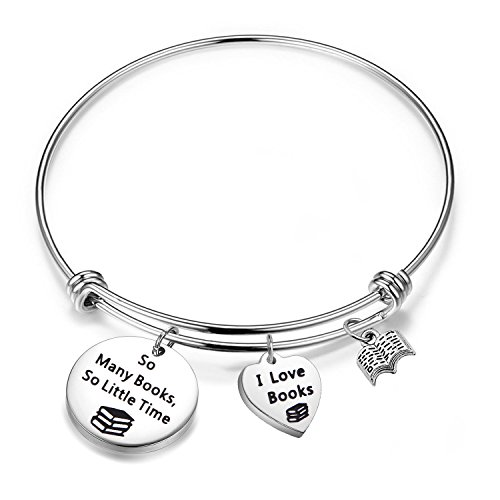 (FEELMEM Book Lover Gifts Love Books Bracelet So Many Books So Little Time Reading Bangle Literary Jewelry Writers Author Student Librarian Gift (Silver))