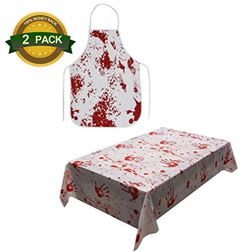 (Chelseabyt Halloween Bloody Apron, Creepy Halloween Party Bloody Gauze Table Cover Decoration,Printed Scary Blood Splattered Murder Halloween Theme Props(Apron+Table)