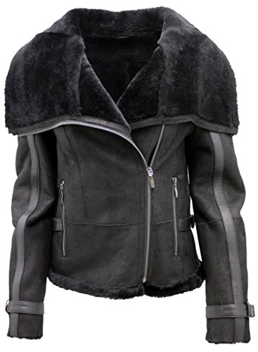Black Leather Merino Shearling Jacket - Women's Short Black Merino Sheepskin Aviator Leather Jacket 2XL