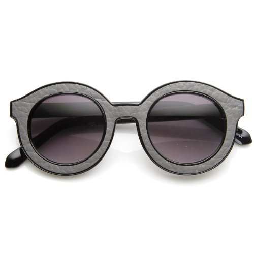zeroUV - High Fashion Block Cut Pattern Print Horned Rim Round Sunglasses - Frames Print Glasses Cheetah