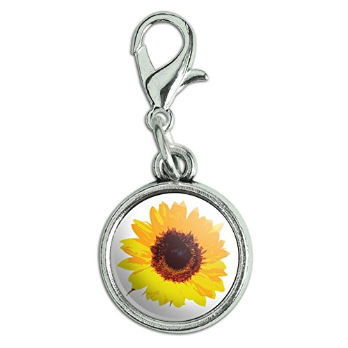 Antiqued Bracelet Pendant Charm with Lobster Clasp Celebration Party Shower - Sunflower Shower