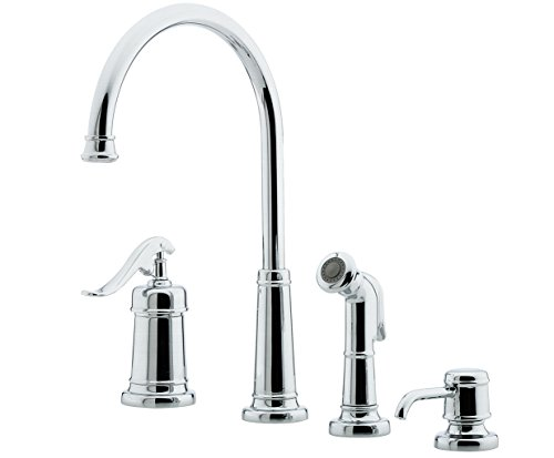 hfield 1-Handle Kitchen Faucet with Side Spray & Soap Dispenser in Polished Chrome, 1.8 gpm ()
