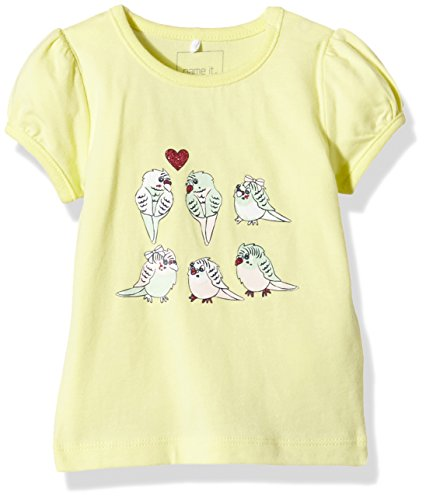 NAME IT Baby-Mädchen T-Shirt Nitheart NB CU SS Top Ger 216, Gelb (Elfin Yellow), 74