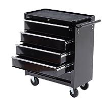 "HomCom 5 Drawer Steel Rolling Tool Cabinet Wheeled Storage Cart Box, Black, 31"""