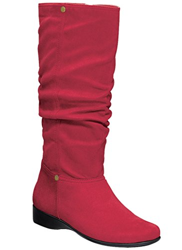 AmeriMark Women's Ashley Slouch Boot Micro Suede Knee High Fashion Low Heel Side Zip