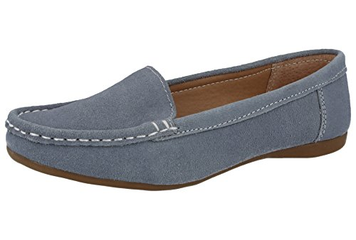 Koo-T Ladies Womens Loafer Shoes Suede Leather Driving Comfortable Flats Summer Deck Size 3 4 5 6 7 8 Baby Blue (Mykonos)