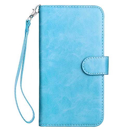 (Galaxy J4 Plus Case, Bear Village Premium PU Leather Stand Wallet Case 9 Card Slots Cover with Magnetic Clasp and Wrist Strap for Samsung Galaxy J4 Plus (#4 Blue))