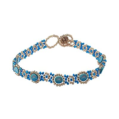 hot sell BlueRica Fimo Discs with Dolphin Design on Blue & Mauve Glass Seed Beads Anklet on sale