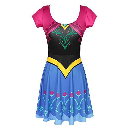 [Frozen I Am Anna Disney Movie Mighty Fine Girls Juniors Costume Skater Dress] (Anna Costume Ideas)