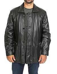 Gentle Mens PARKA Soft BLACK Leather Jacket Car Coat Mid Length Overcoat Clive