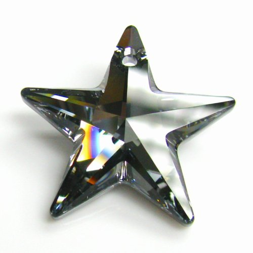 1 pc Swarovski Crystal 6714 Star Silver Night Charm Pendant 28mm / Findings / Crystallized Element