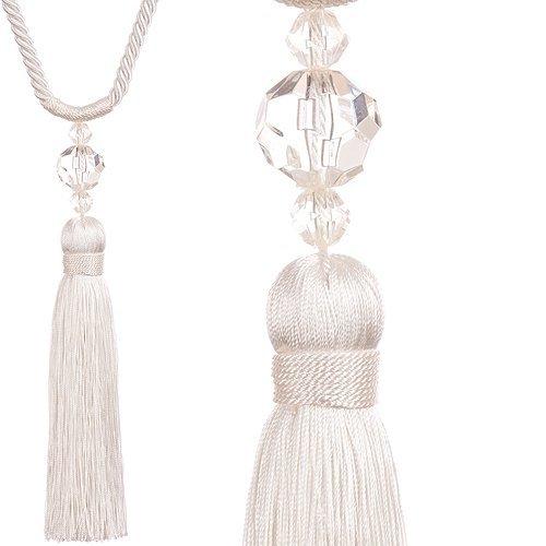 one pair of jones interiors white pixi rope tassel designer curtain tie backs