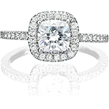 6.00MM Forever One D-F VS Moissanite Ring With Diamonds (0.9 ct, 1.43 ctw dew) Cushion Cut 14K Gold